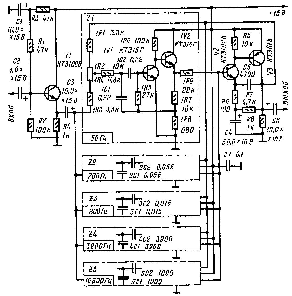 Принципиальная схема пятиполосного эквалайхера на транзисторах