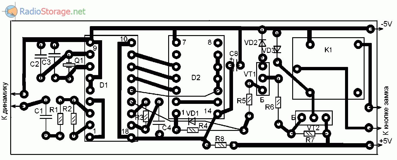Печатная плата для замка с управлением через GSM-телефон (размеры 77x26 мм)