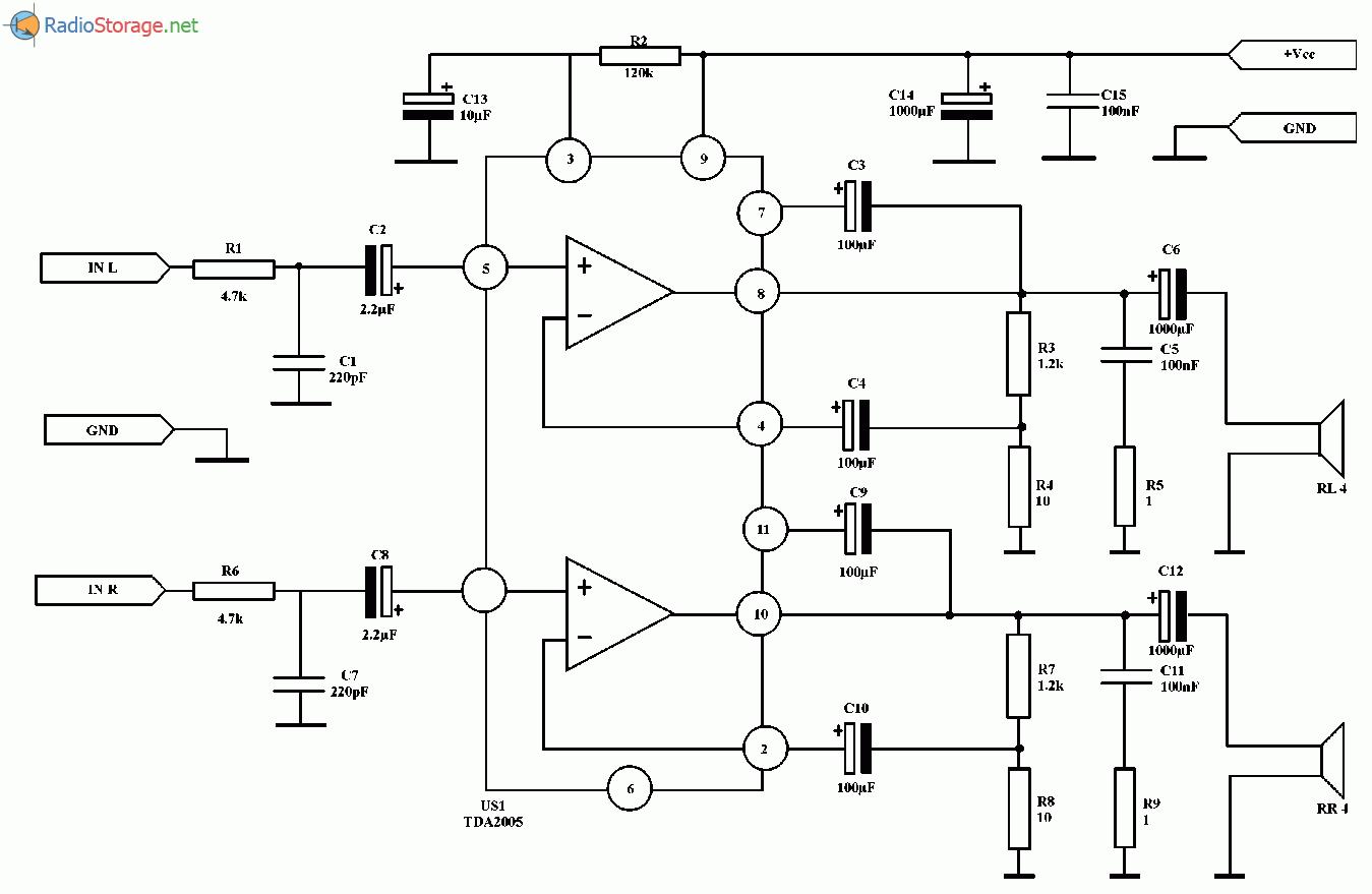 Простой стереоусилитель на микросхеме TDA2005 (2x10 Вт), схема