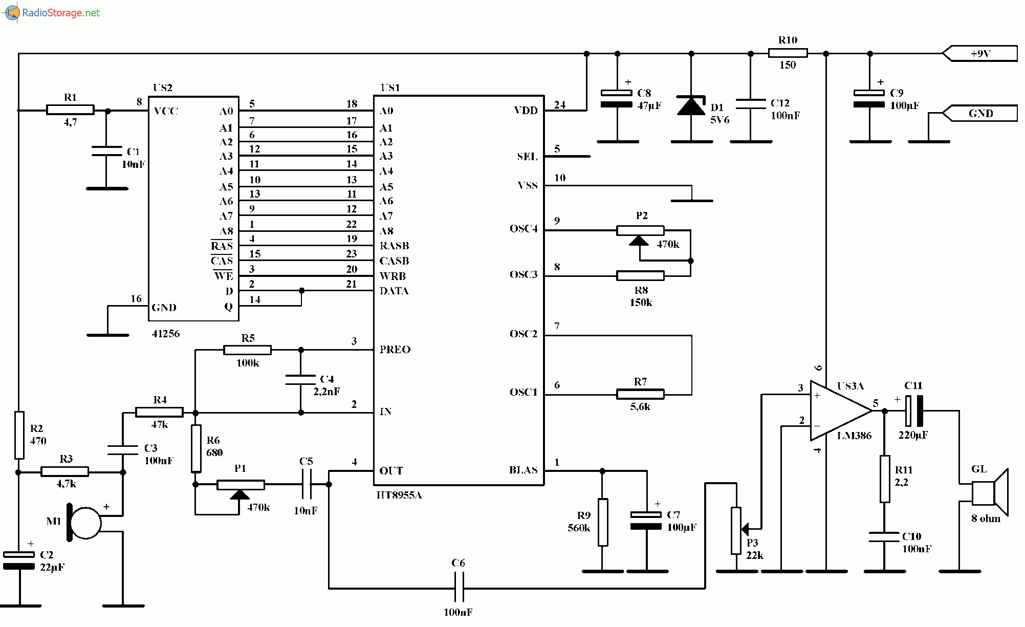 Цифровой имитатор эхо (НТ8955А), схема