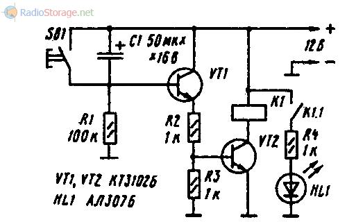 Схема простого самодельного реле времени на двух транзисторах КТ3102