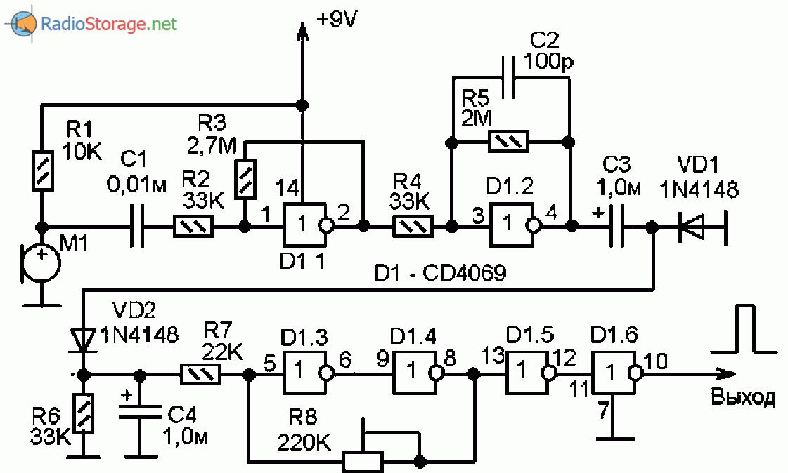 Схема самодельного акустического датчика для автоматики и электронных самоделок