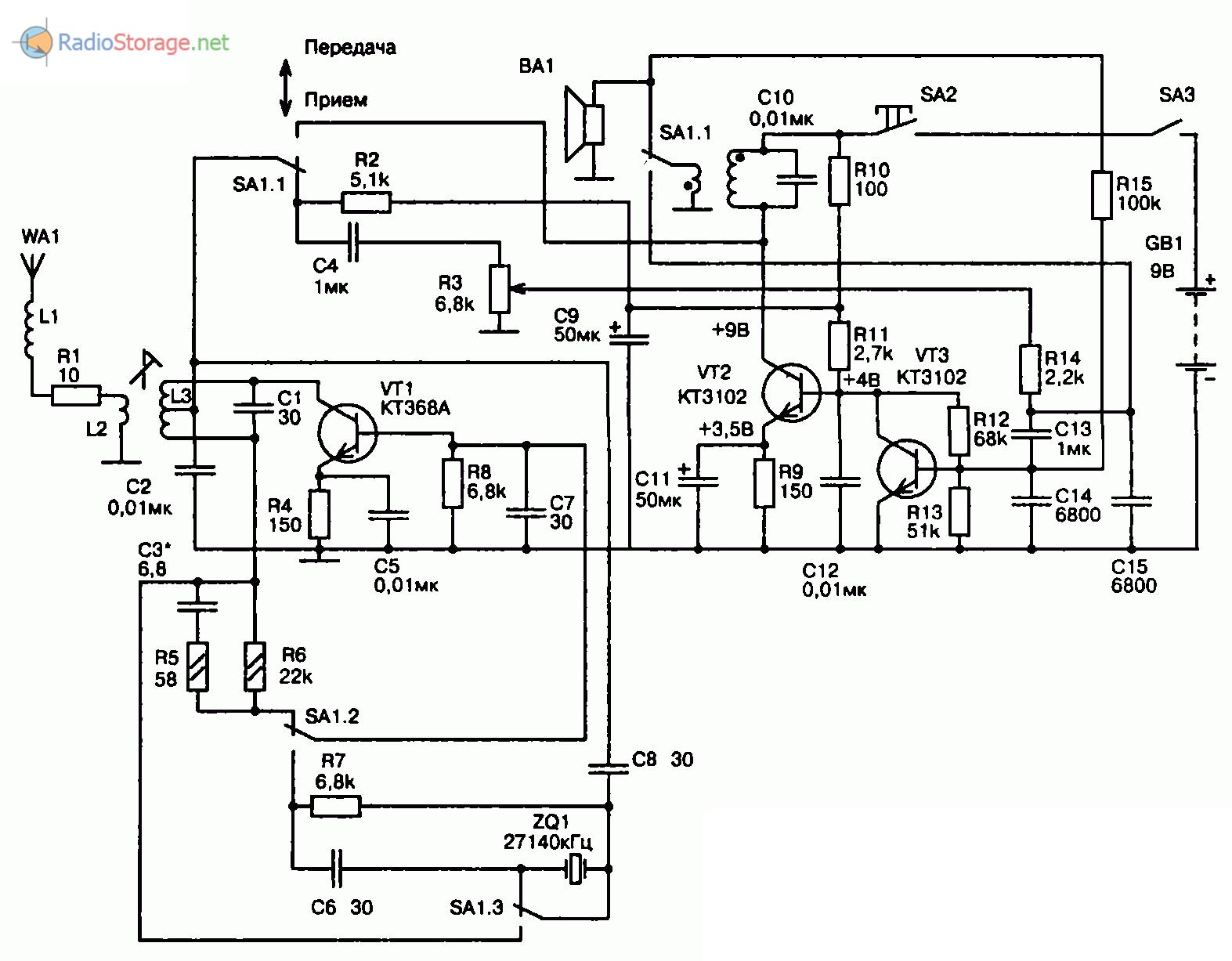 Схема простой радиостанции на трех транзисторах (27,140 МГц)
