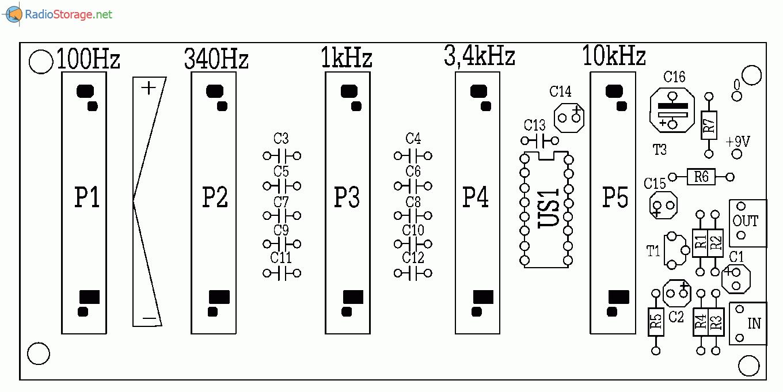 Пятиполосный графический эквалайзер на микросхеме LA3600, схема