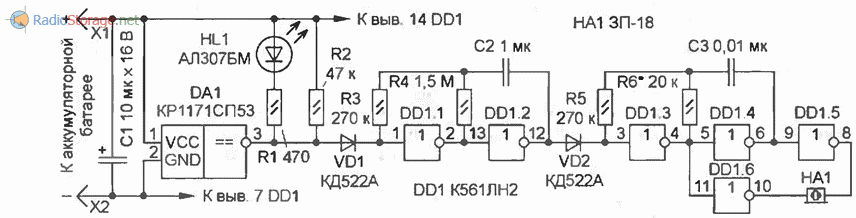 Принципиальная схема индикатора состояния аккумуляторной батареи