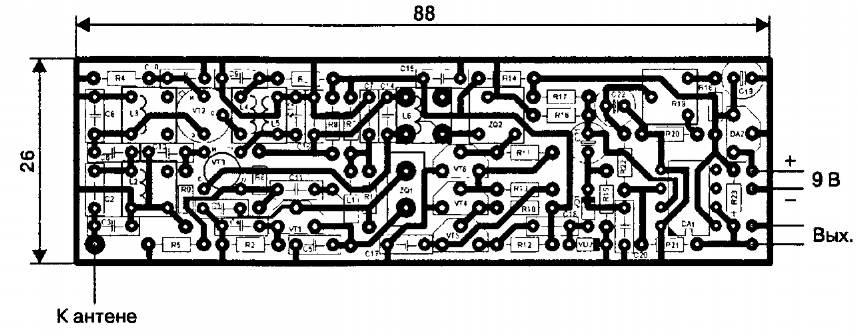 Печатная плата для самодельного приемника радиоуправления на диапазон частот 27,12 МГц