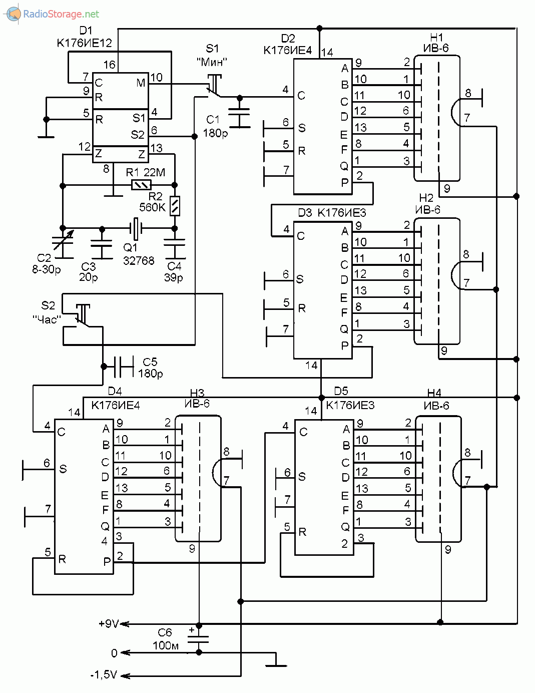 Принципиальная схема часов на микросхемах серии К176