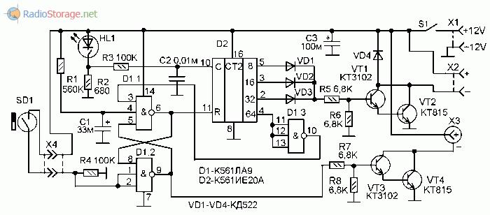 Принципиальная схема охранного устройства для включения видеорегистратора