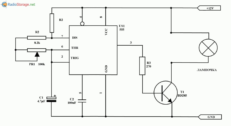 Простой мерцающий маяк (NE555), схема