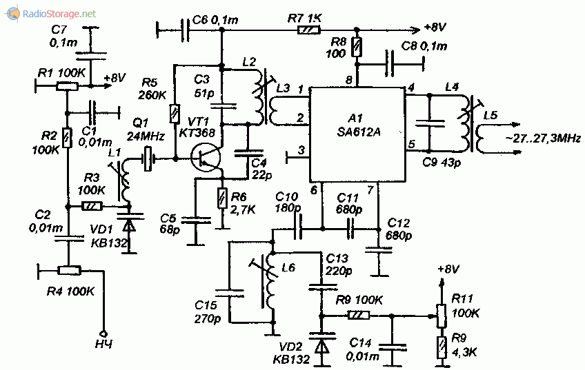 Принципиальная схема синтезатора частоты для СВ передатчика