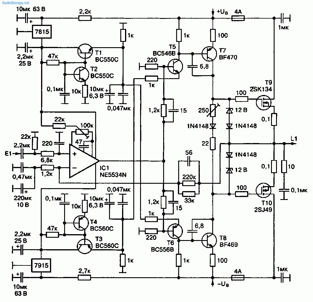 Схема УМЗЧ на полевых транзисторах Иво Линненберга