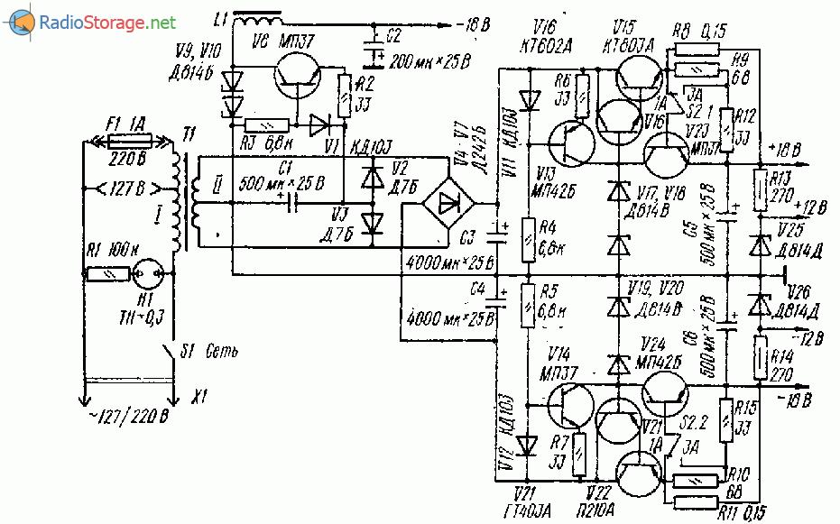 Блок питания для трехполосного усилителя на транзисторах и ОУ