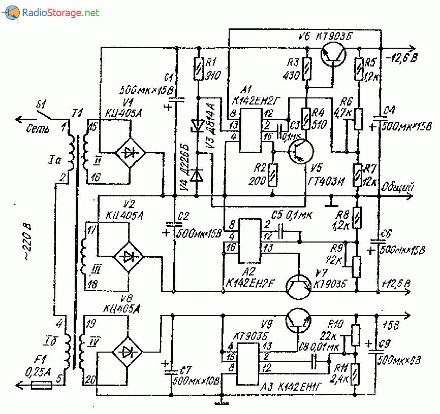 Блок питания усилителя ЗЧ (18В, 12В)