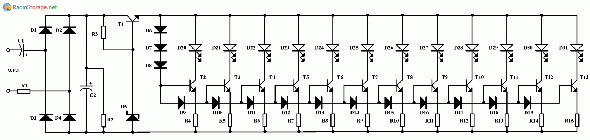 Индикатор уровня мощности для акустической системы, схема