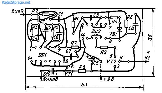 Микрофонный усилитель с VOX (К176ЛЕ5)