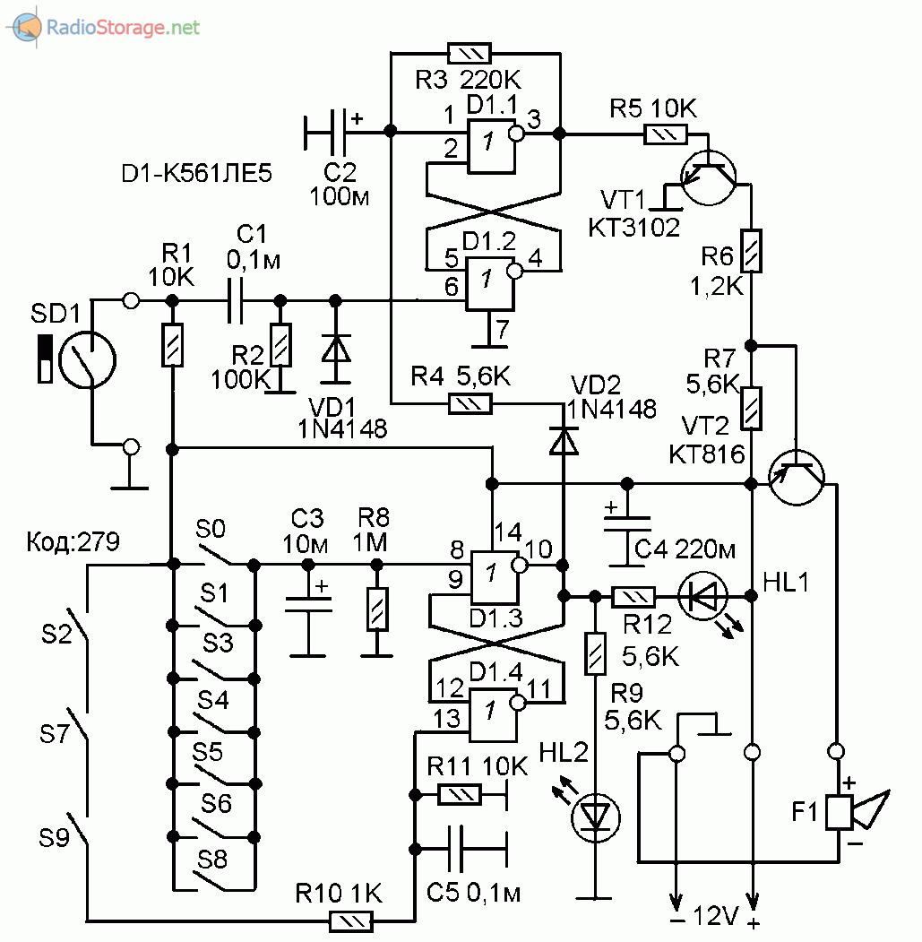 Принципиальная схема сторожевого устройства с кодовым отключением