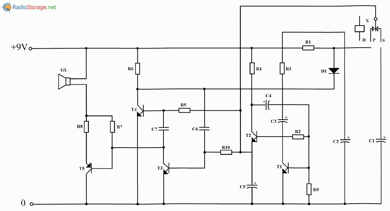 Схема простой трехтональной сирены на пяти транзисторах, схема