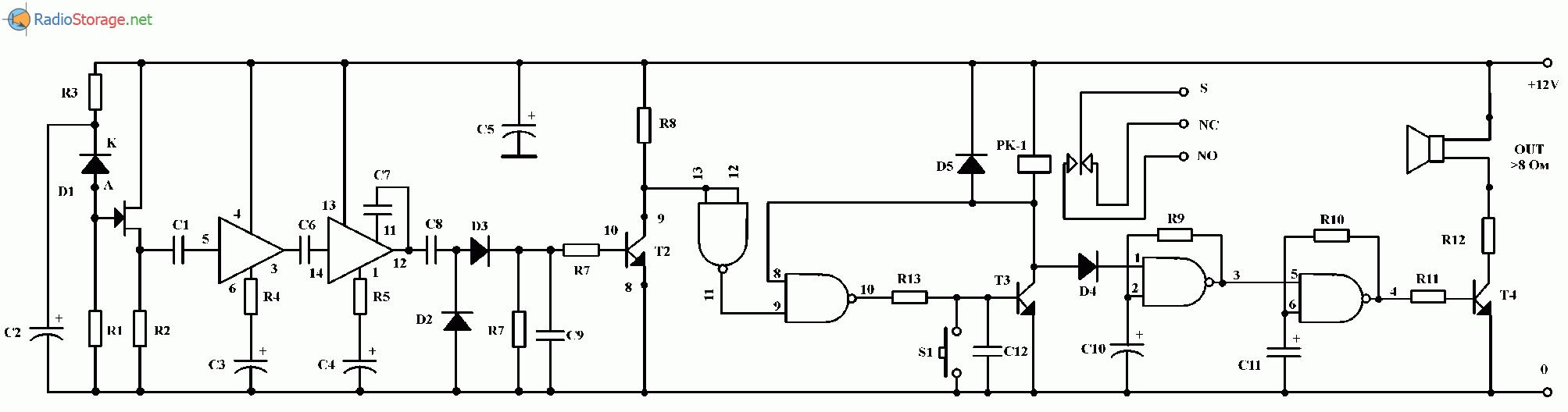 Сигнализация пересечения периметра на ИК-лучах, схема