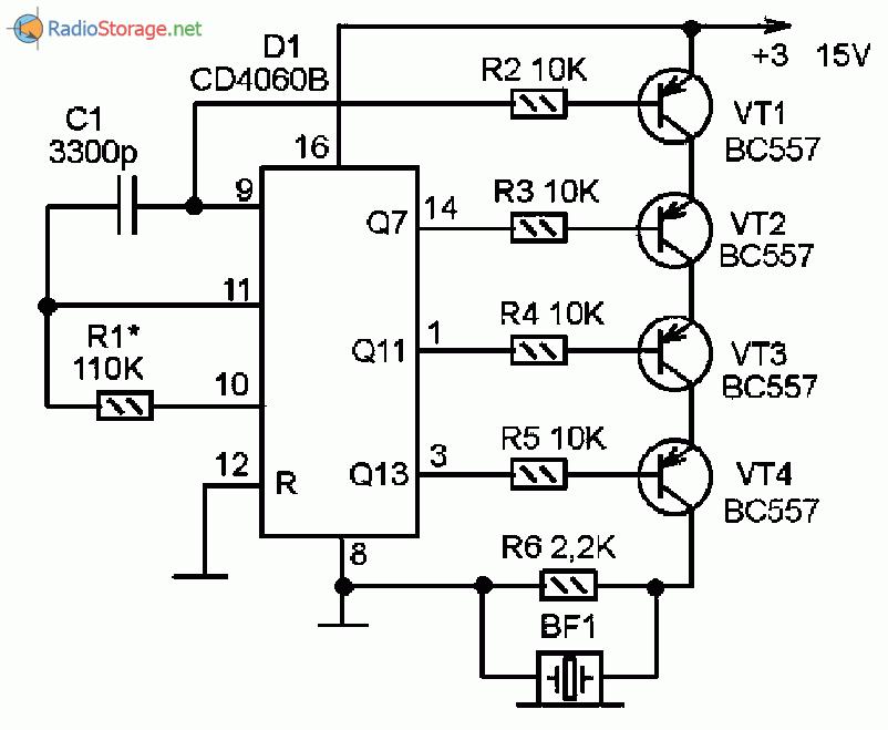 Принципиальная схема сигнализатора с необычным звуковым сигналом