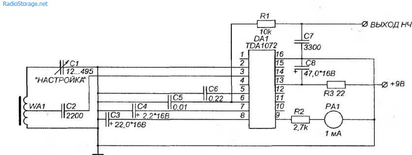 Схема простого радиоприемника на ИМС TDA1072