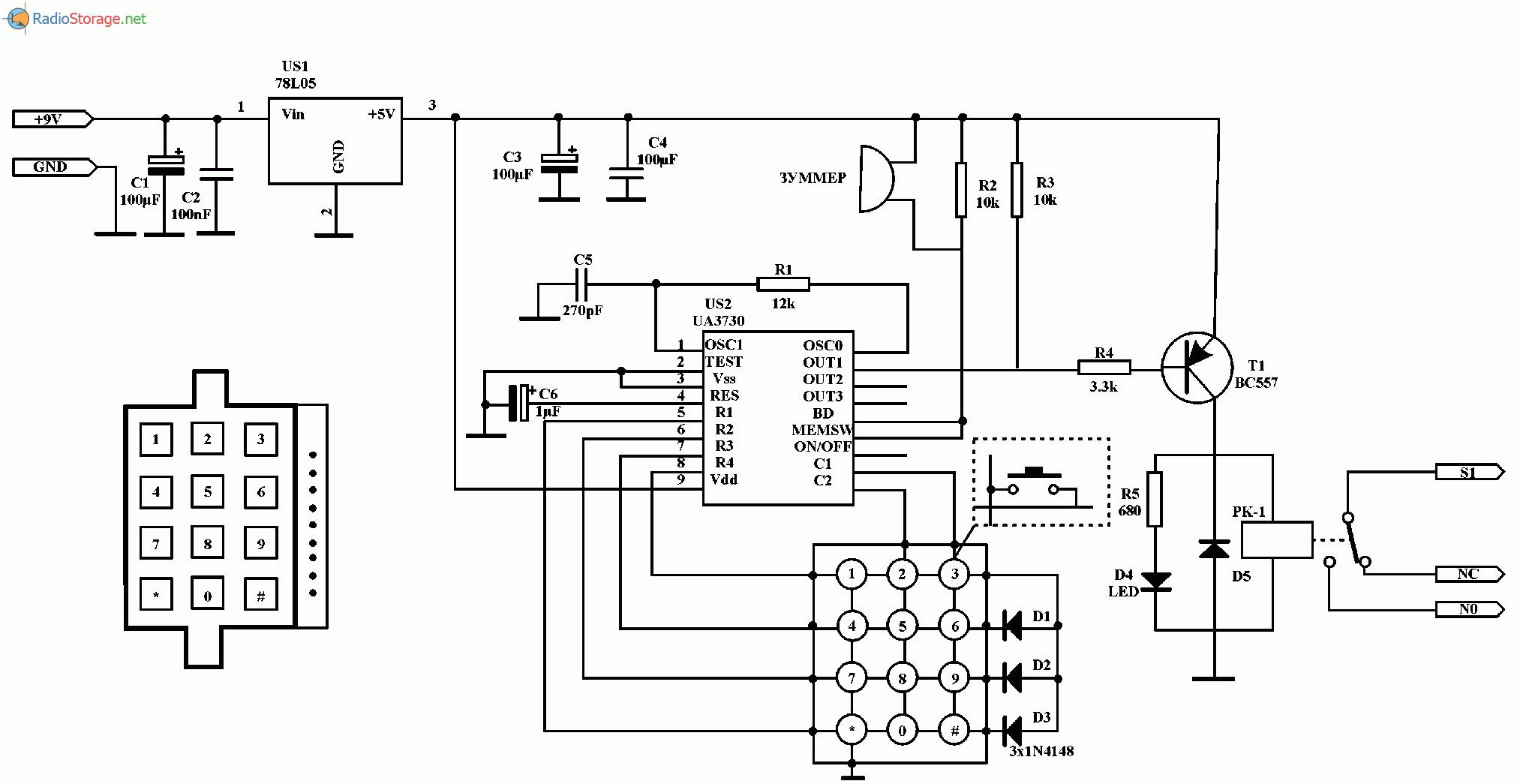 Кодовый замок на микросхеме UA3730, схема