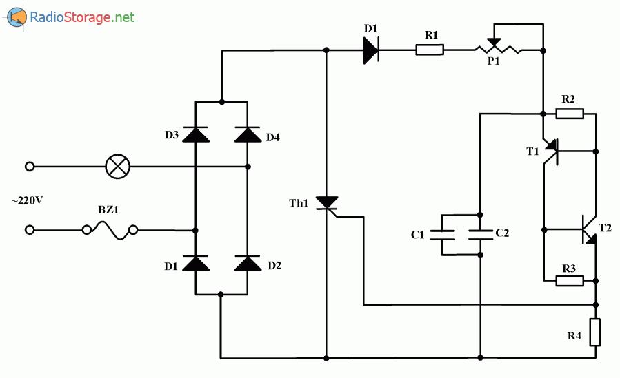 Простой тиристорный регулятор яркости освещения, схема