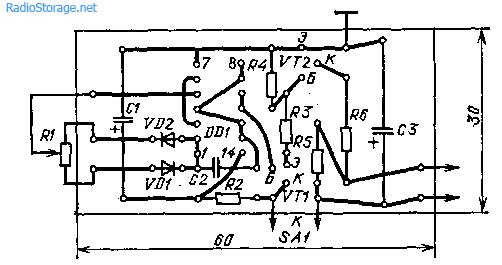Регулятор яркости фар на микросхеме К561ЛА7
