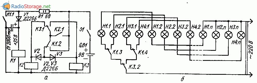 Простой переключатель гирлянд на реле постоянного тока