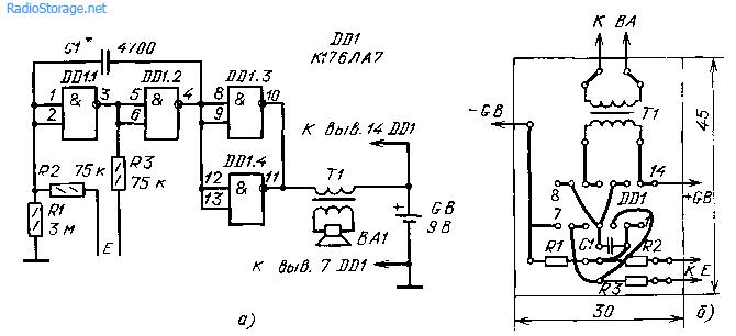 Схема сенсорного дверного звонока на микросхеме