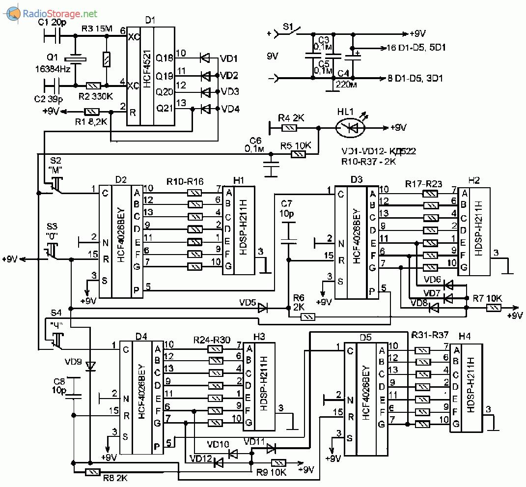 Принципиальная схема электронных цифровых часов на микросхемах HCF4521, HCF4026BEY