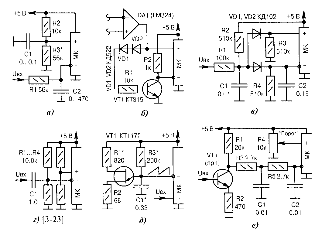 Внутренний аналоговый компаратор и микроконтроллер