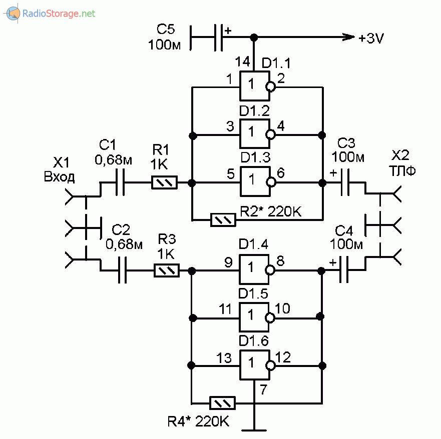 Принципиальная схема мощного усилителя НЧ для наушников на микросхеме 4069