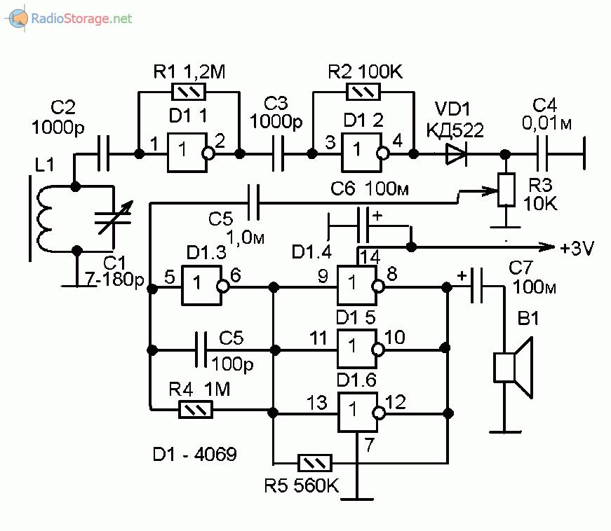 Схема простого самодельного АМ приемника на цифровой микросхеме 4069