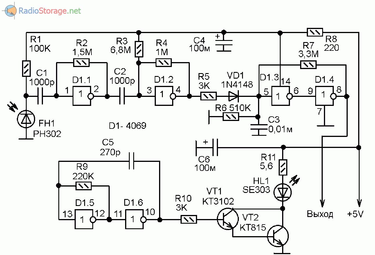 Схема датчика пересечения ИК-луча на микросхеме 4069