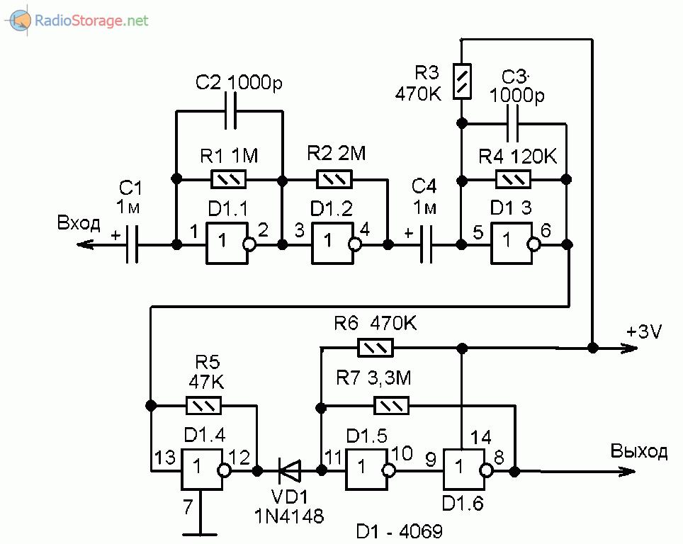 Схема усилителя-формирователя логических импульсов на микросхеме 4069