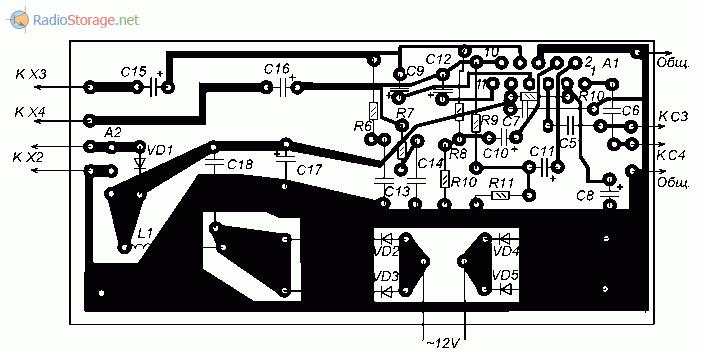 Печатная плата для самодельного усилителя на микросхеме TDA2005