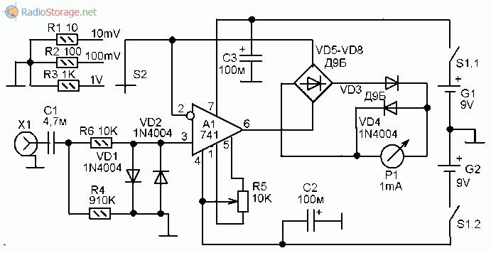 Принципиальная схема милливольтметра сигналов звуковой частоты