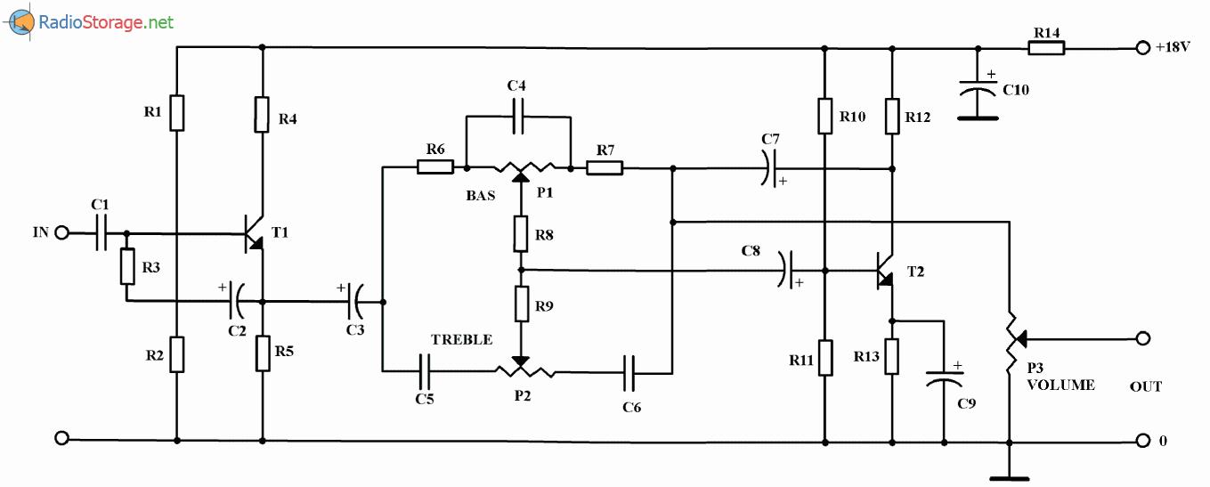 Предусилитель и регулятор тембра на двух транзисторах, схема