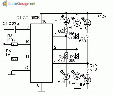 Принципиальная схема светодиодной мигалки на микросхеме CD4060B