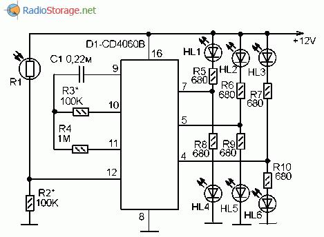 Принципиальная схема светодиодной мигалки на микросхеме CD4060B с реакцией на освещенность
