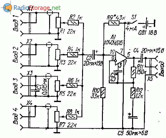 Схемы дисторшн приставки к электрогитаре на операционном усилителе (ОУ)