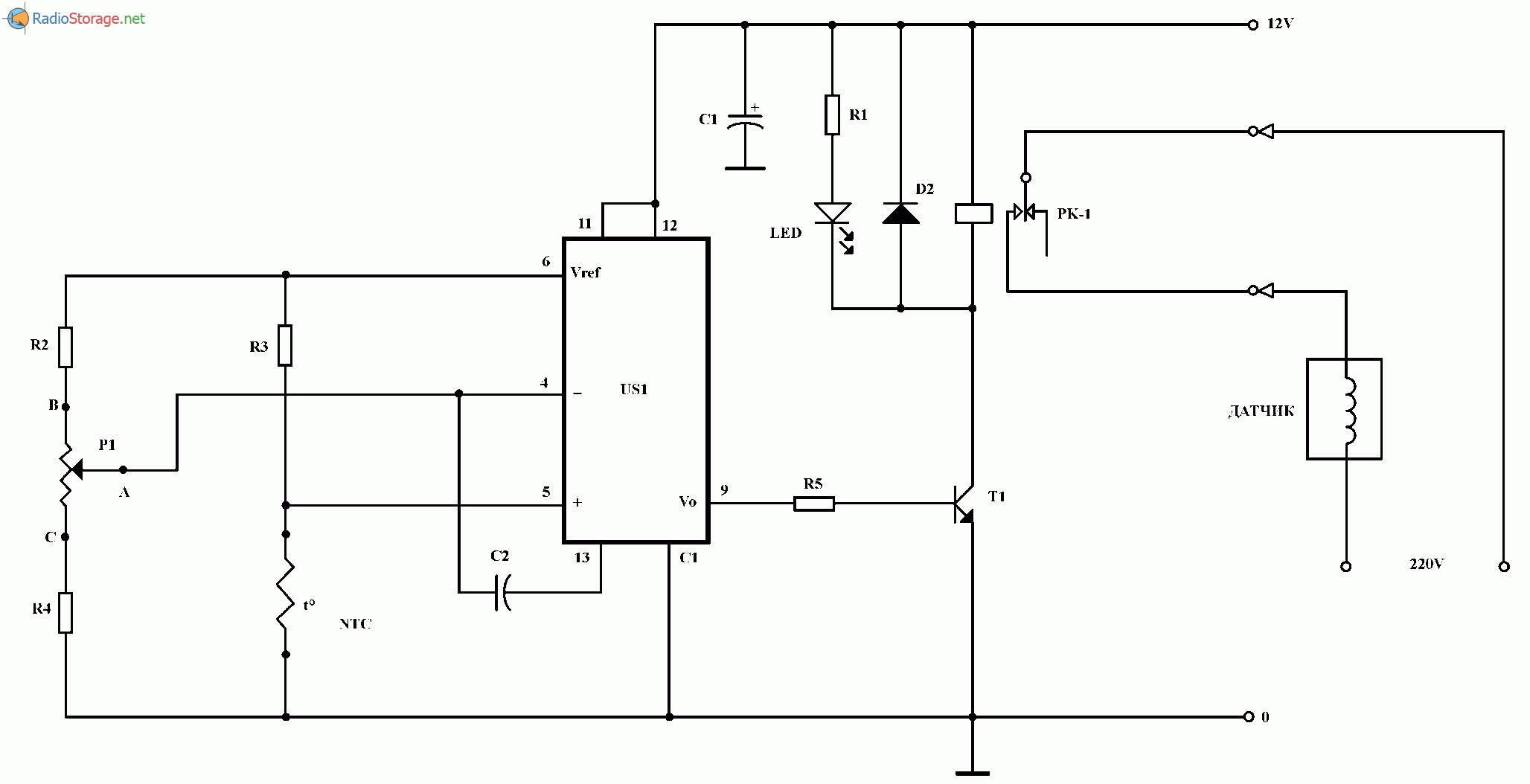 Термостат для управления обогревателем, схема