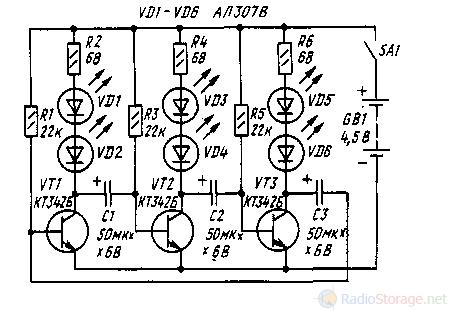 Принципиальная схема мигалки на транзисторах и светодиодах