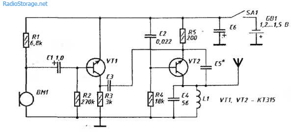 Простой УКВ-радиомикрофон 50-100м, питание 1,5В
