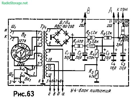 Схема лампового УНЧ радиолы Ригонда на 6Н2П, 6П14П