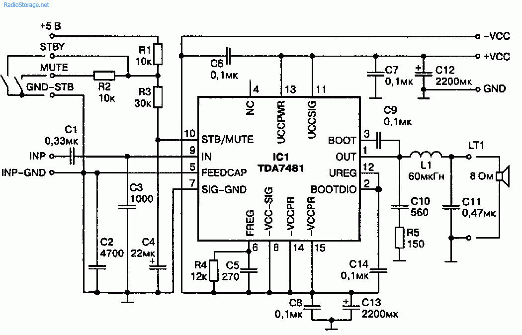 ШИМ УНЧ на специализированной ИMC TDA7481 (15Вт 8Ом)