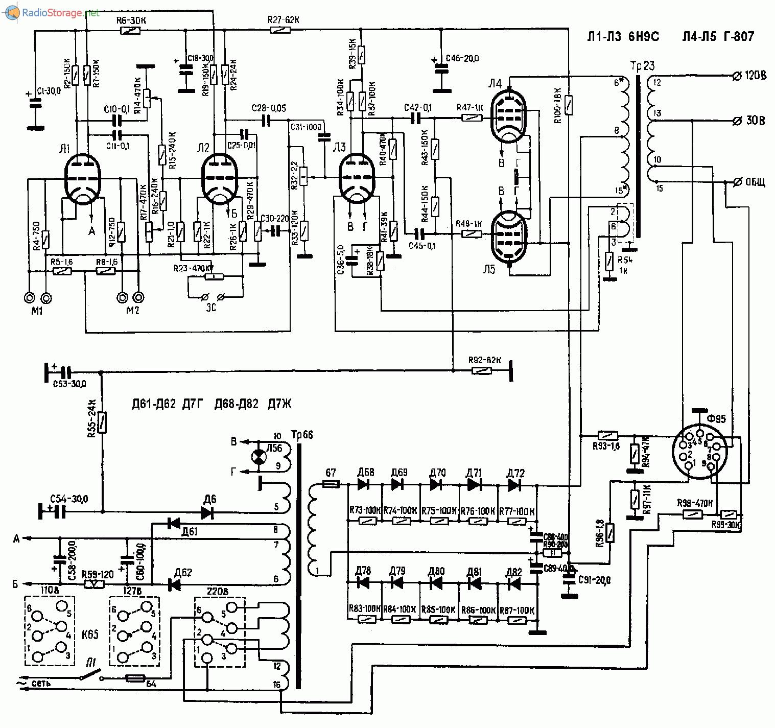 Ламповый усилитель ТУ-50М (6Н9С, Г-807), схема
