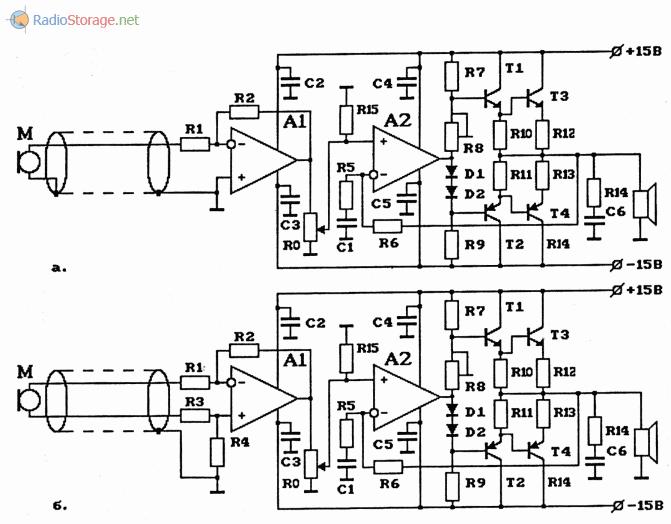 Схемы микрофонных УНЧ на ОУ с удаленным микрофоном