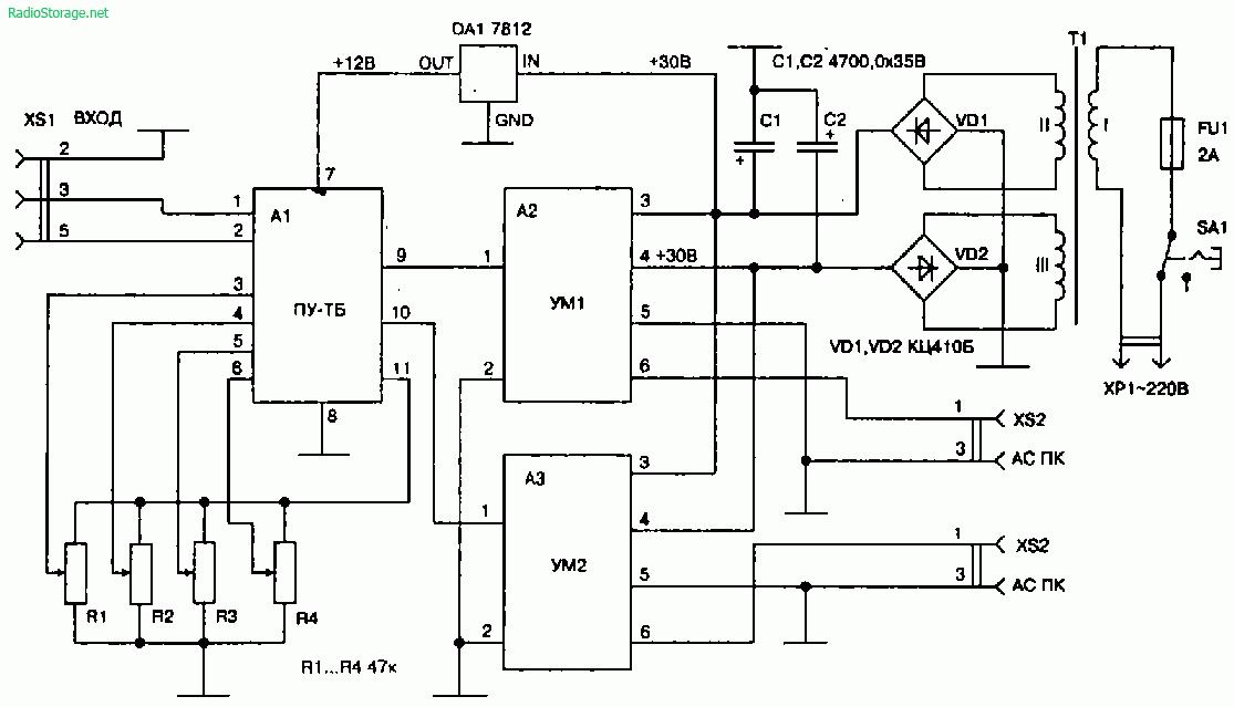 Схема усилителя звуковой частоты 2х50Вт с предусилителем (TDA1514A, TDA1524A)