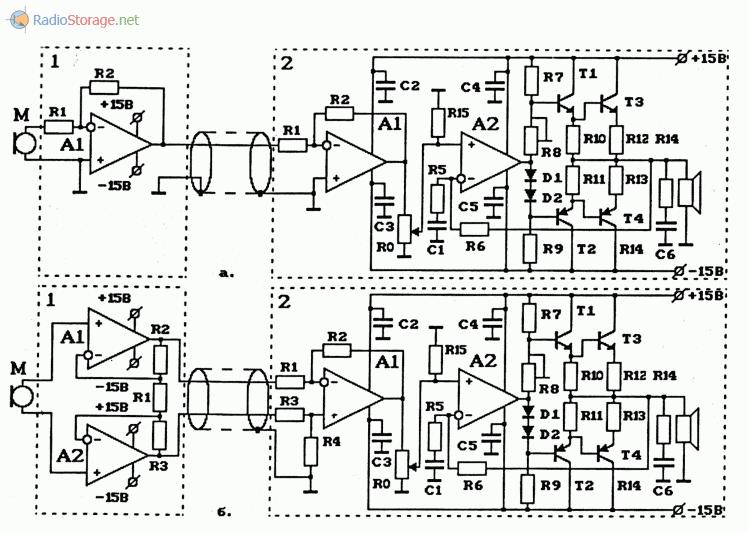 Схемы микрофонных УНЧ (каждый из двух УНЧ) на ОУ